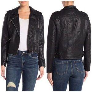 Vegan Leather Double Side Buckle Biker Jacket